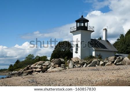 Bristol Ferry lighthouse in Rhode Island. - stock photo