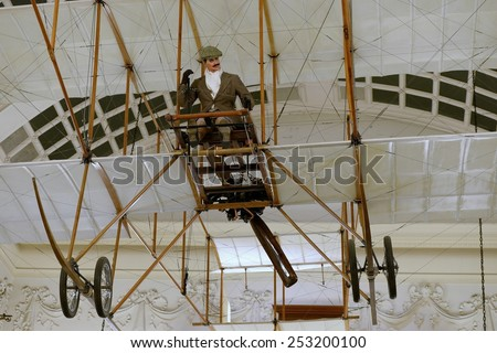 BRISTOL - JAN 11: View of a Bristol Boxkite on display at Bristol Museum on Jan 11, 2015 in Bristol, UK. The early biplane was introduced in 1910 by the British and Colonial Aeroplane Company. - stock photo