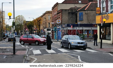 BRISTOL - NOV 7: General street view in the Easton district of the city on Nov 7, 2012 in Bristol, UK. Bristol is the United Kingdom's 10th largest city with a population of 430,000. - stock photo