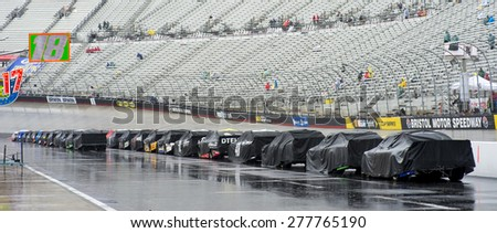 Bristol, TN - Apr 19, 2015:  The NASCAR Sprint Cup Series teams wait for the rain to end for the Food City 500 at Bristol Motor Speedway in Bristol, TN. - stock photo