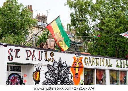 Bristol, UK. 5th July 2014. Entrance of St Pauls Carnival from Stoke Croft - stock photo