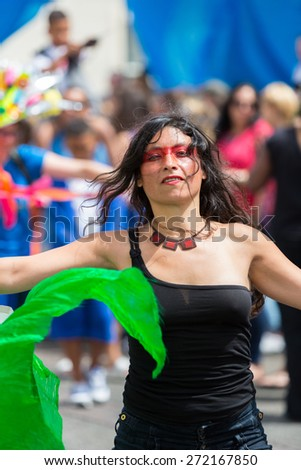 Bristol, UK. 5th July 2014. Indian dancer at St Paul's Carnival - stock photo