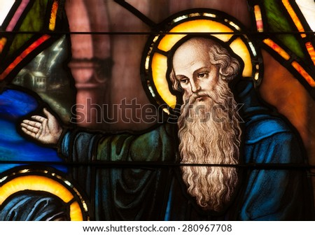 BRISTOW, VIRGINIA - APRIL 26, 2015: Detail of stained glass window depicting face of St. Benedict of Nursia, founder of Benedictine Order, located in chapel of St. Benedict Monastery - stock photo