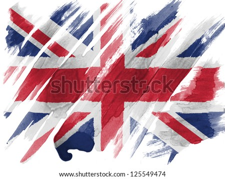 Britain. British flag painted with watercolor on paper - stock photo