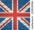 Britain flag on wood texture. Raster version. - stock photo