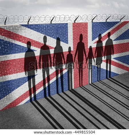 Britain immigration refugee crisis concept as people on a border wall with a British flag as a symbol of UK illegal immigrants with the shadow of a group of migrants with 3D illustration elements.