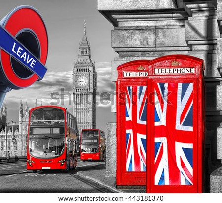 Britain votes to LEAVE European Union, phone booths with flags against Big Ben in London, England, UK