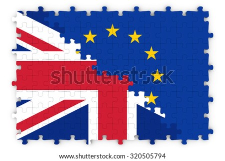 British and European Relations Concept Image - Flags of the United Kingdom and the European Union Jigsaw Puzzle - stock photo