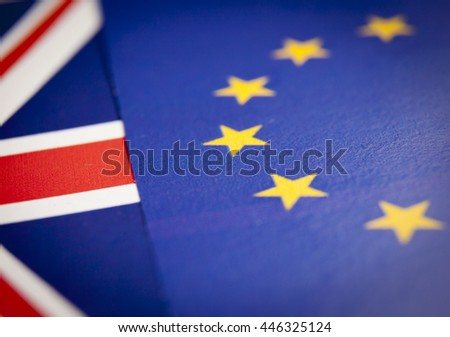 British and European Union macro paper flag detail