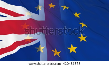 British and European Union Relations Concept - Merged Flags of Britain and the EU 3D Illustration