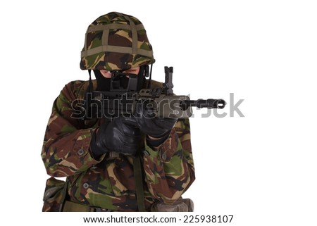 British Army Soldier isolated on white