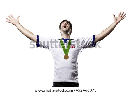British Athlete Winning a golden medal on a white Background.