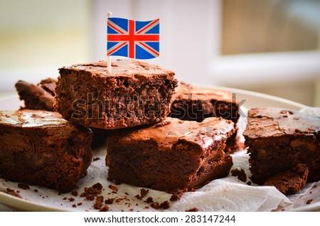 British chocolate brownies - stock photo