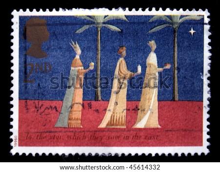British circa 1996 greeting christmas postage stock photo edit now british circa 1996 a greeting christmas postage stamp printed in united kingdom shows magi m4hsunfo