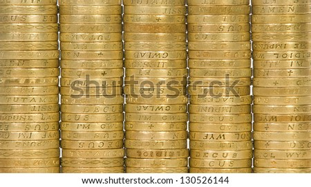 British coins arranged in close-up - stock photo