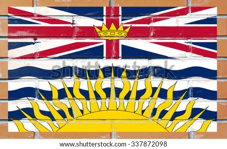 British Columbia flag painted on old brick wall texture background - stock photo