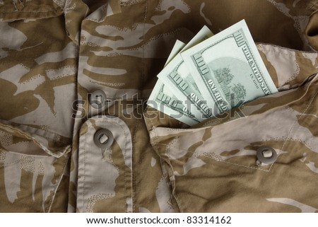 British combat uniform with dollars