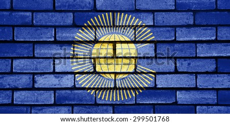 British Commonwealth flag painted on old brick wall texture background - stock photo