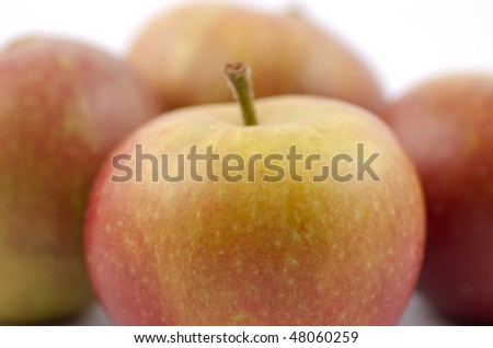 British Cox's apples on a white background - stock photo