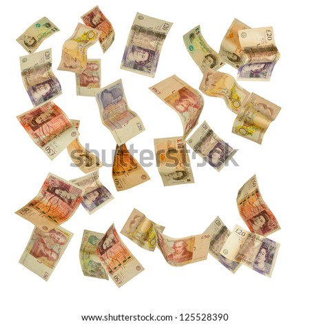 British currency shot as if falling - stock photo