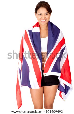 British female athlete smiling - isolated over a white background