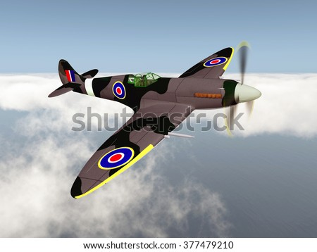 British fighter aircraft of World War II Computer generated 3D illustration - stock photo