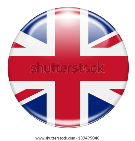 british flag button isolated on white - stock photo