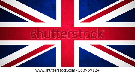 British flag on vintage background - stock photo