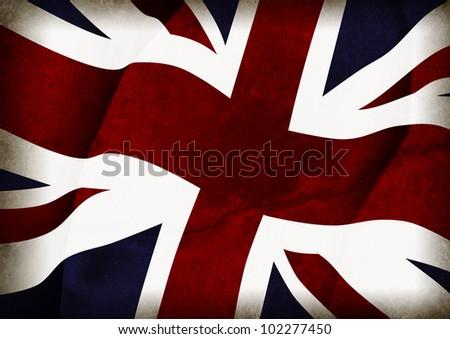 British flag with grunge texture - stock photo
