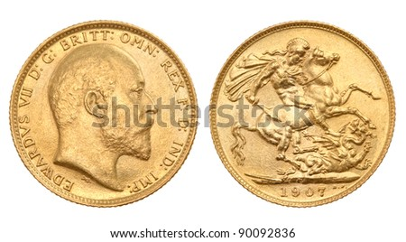 British gold sovereign of 1907 , with King Edward VII on one side and St George killing the dragon on the other side - stock photo