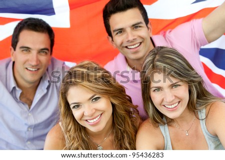 British group of people with the Union flag