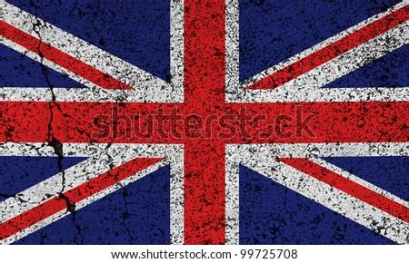 British grunge flag background - stock photo
