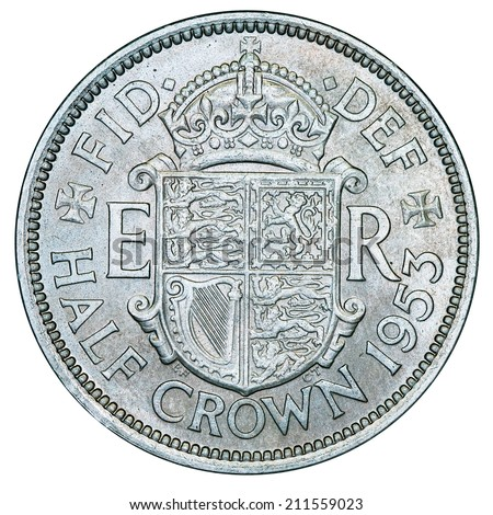 British Half Crown (with clipping path)