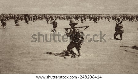 British invaders advancing through flooded Mesopotamia in 1916. They met strong Turkish resistance, but finally entered Baghdad on March 17, 1917. - stock photo