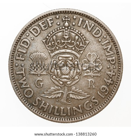 British King George VI 1944 Two Shilling (Florin) Coin
