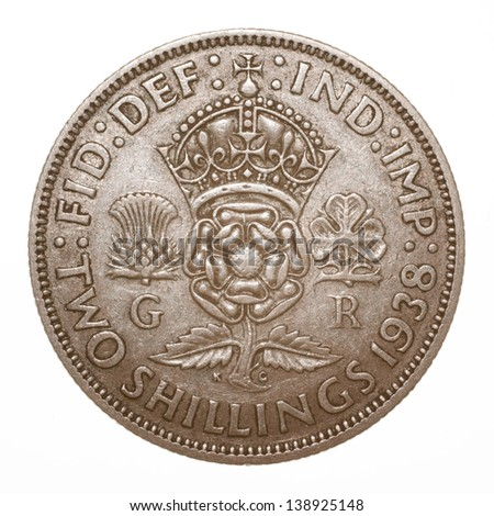 British King George VI 1938 Two Shilling (Florin) Coin