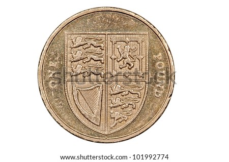 British One Pound Coin (with clipping path)
