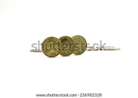 British one pound coins on white