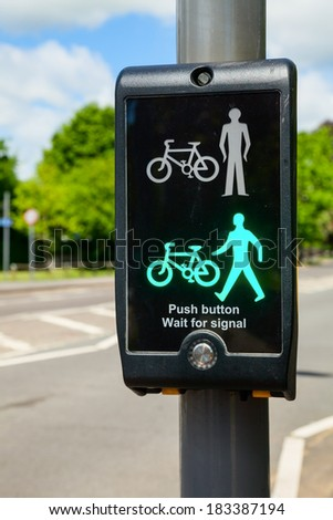 British pedestrian and cyclist crossing - stock photo
