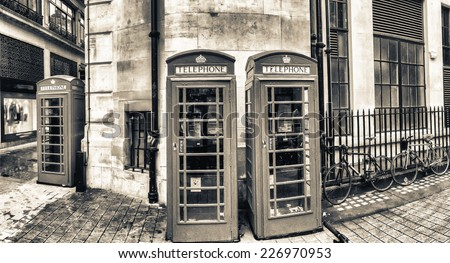 British Phone Booths in London, United Kingdom.