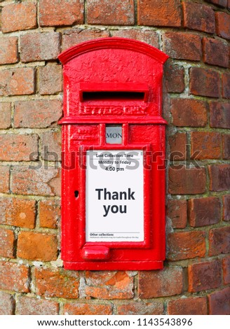 British post box message that reads stock photo edit now british post box with a message that reads thank you ideal for a greeting card m4hsunfo