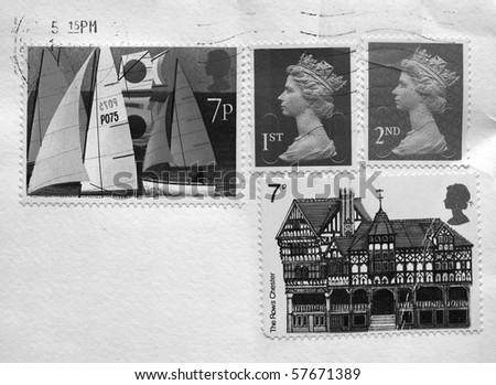 British postage stamps from the United Kingdom (UK) - stock photo