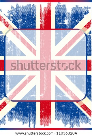 British poster with frame. A grunge flag of england with a transparent frame - stock photo