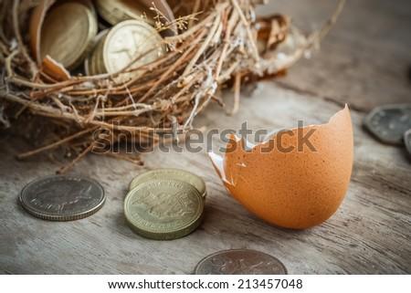 British Pound Coins with Bird Nest and Broken egg - stock photo