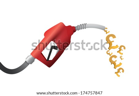 british pound currency gas pump illustration design over a white background