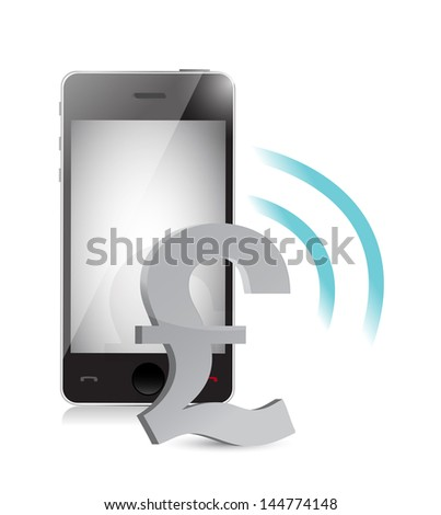 british pound currency management on a mobile phone illustration - stock photo
