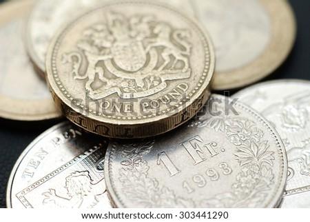 British Pound to Swiss Franc Rate - stock photo