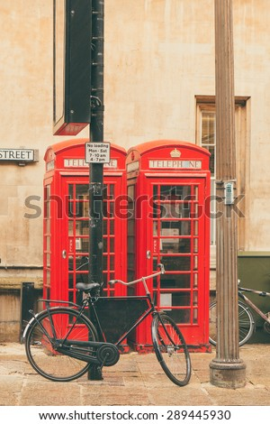 British Red Telephone boxes in Cambridge, England