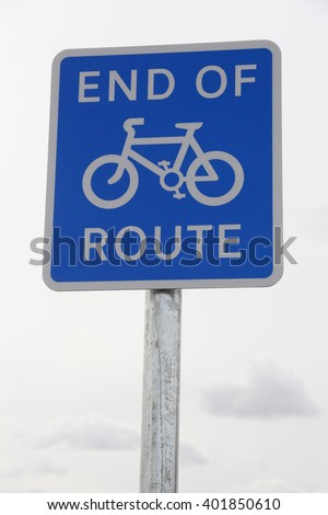 British road sign - End of Cycle Route