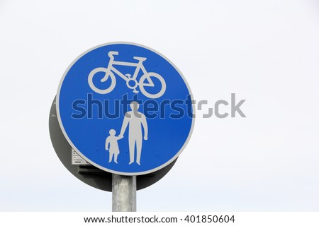 British road sign - Route for cyclists and pedestrians - stock photo